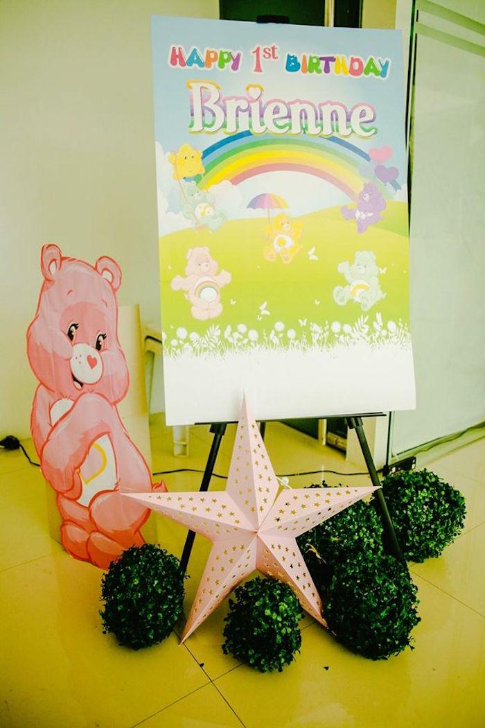 Sign + Decor from a Care Bears Themed Birthday Party via Kara's Party Ideas KarasPartyIdeas.com (32)