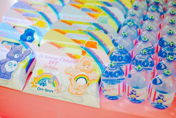 Karas party ideas care bears themed birthday party karas party ideas pillow favor boxes drinks from a care bears themed birthday party via karas party ideas filmwisefo