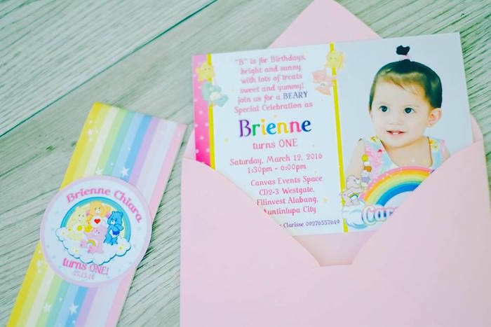 Karas Party Ideas Invitation from a Care Bears Themed Birthday – Care Bear Birthday Invitations