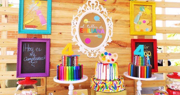 Kara S Party Ideas Colorful Art Studio Birthday Party