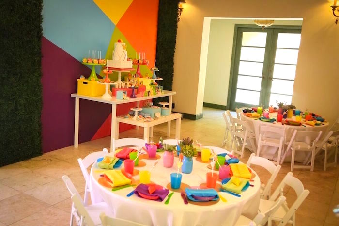 Partyscape from a Colorful Geometric Mickey Mouse Birthday Party via Kara's Party Ideas KarasPartyIdeas.com (41)