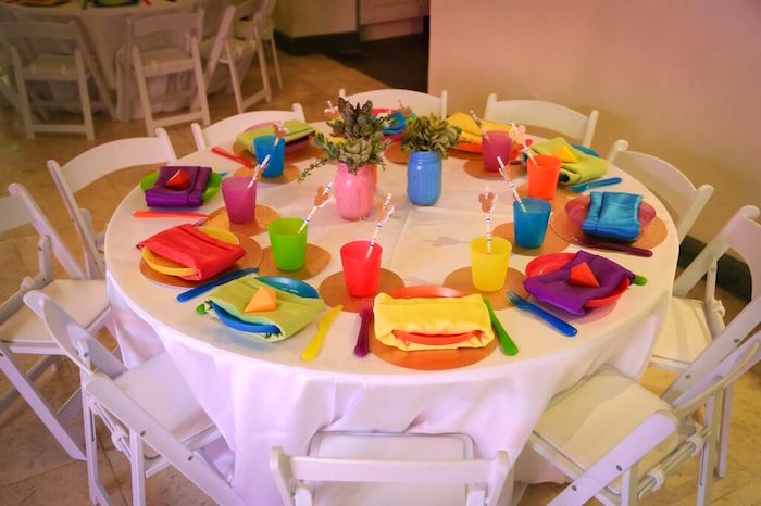 Guest Table from a Colorful Geometric Mickey Mouse Birthday Party via Kara's Party Ideas KarasPartyIdeas.com (40)