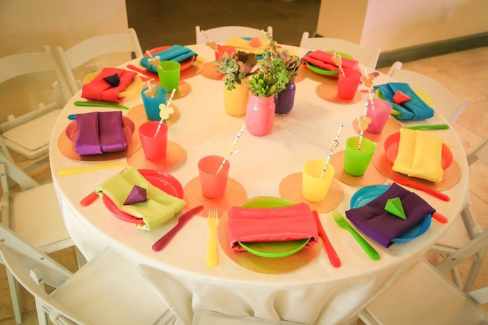 Dining Tabletop from Colorful Geometric Mickey Mouse Birthday Party via Kara's Party Ideas KarasPartyIdeas.com (38)