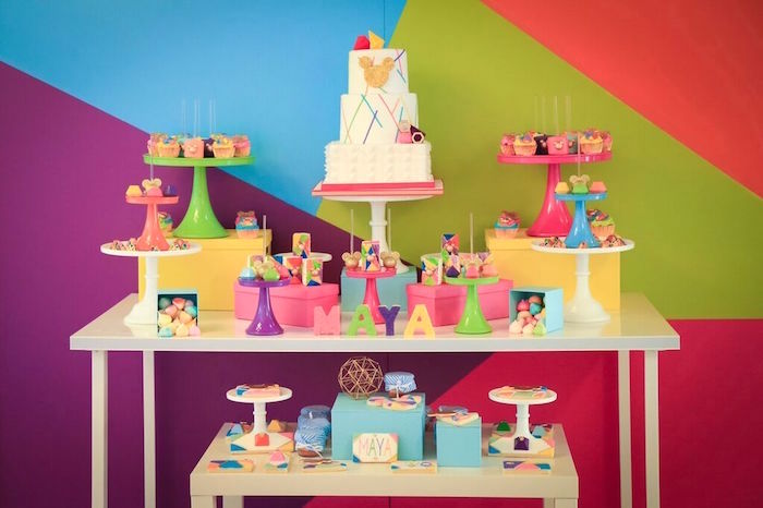 Dessert Table from a Colorful Geometric Mickey Mouse Birthday Party via Kara's Party Ideas KarasPartyIdeas.com (51)
