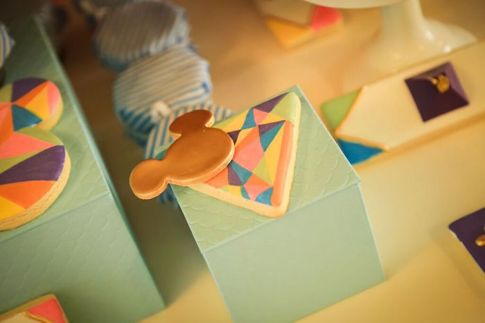 Cookie from a Colorful Geometric Mickey Mouse Birthday Party via Kara's Party Ideas KarasPartyIdeas.com (32)