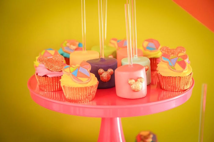 Cupcakes + Marshmallow Pops from a Colorful Geometric Mickey Mouse Birthday Party via Kara's Party Ideas KarasPartyIdeas.com (28)