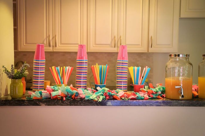 Drink Bar from a Colorful Geometric Mickey Mouse Birthday Party via Kara's Party Ideas KarasPartyIdeas.com (26)