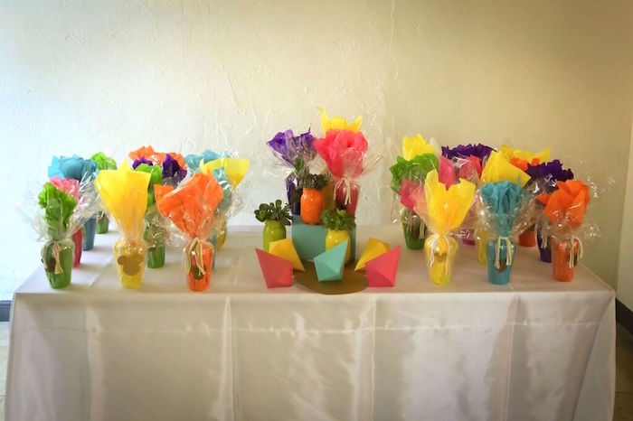 Favor Table from a Colorful Geometric Mickey Mouse Birthday Party via Kara's Party Ideas KarasPartyIdeas.com (23)