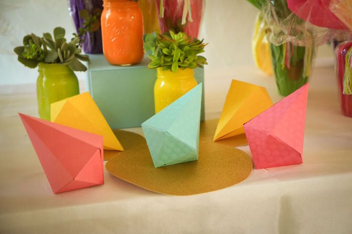 Decor Pieces + Shapes from a Colorful Geometric Mickey Mouse Birthday Party via Kara's Party Ideas KarasPartyIdeas.com (21)