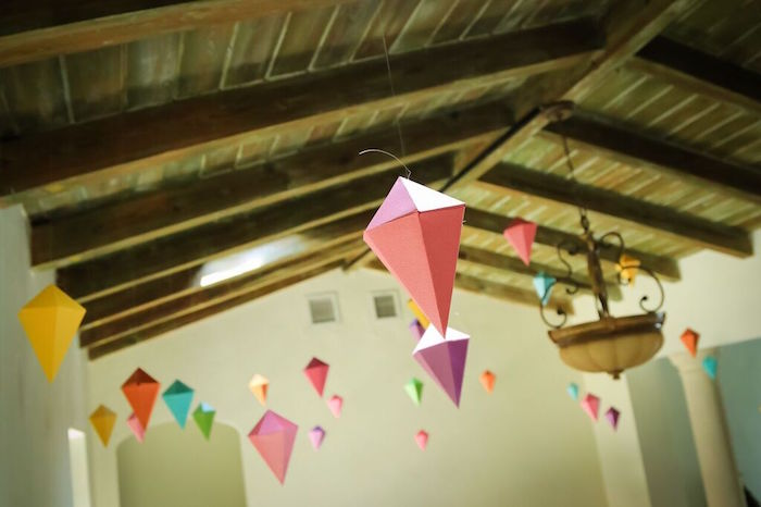 Hanging Geometric Shapes from a Colorful Geometric Mickey Mouse Birthday Party via Kara's Party Ideas KarasPartyIdeas.com (19)