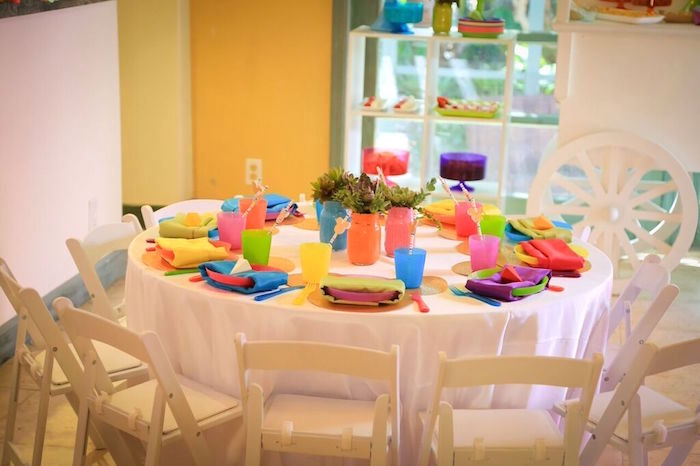 Dining Table from a Colorful Geometric Mickey Mouse Birthday Party via Kara's Party Ideas KarasPartyIdeas.com (18)