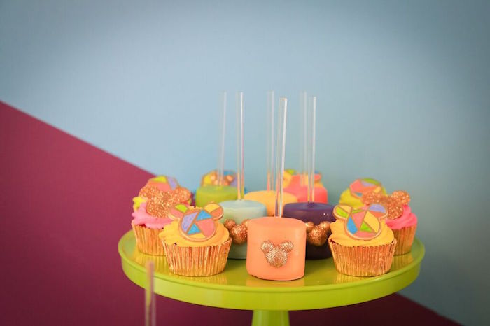 Cupcakes + Marshmallow Pops from a Colorful Geometric Mickey Mouse Birthday Party via Kara's Party Ideas KarasPartyIdeas.com (13)