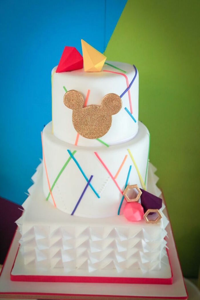 Cake from a Colorful Geometric Mickey Mouse Birthday Party via Kara's Party Ideas KarasPartyIdeas.com (11)