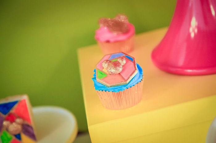 Cupcake from a Colorful Geometric Mickey Mouse Birthday Party via Kara's Party Ideas KarasPartyIdeas.com (10)