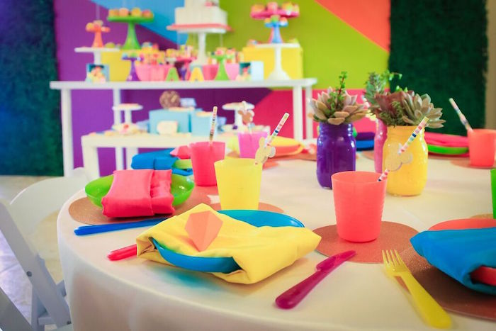 Place Settings from a Colorful Geometric Mickey Mouse Birthday Party via Kara's Party Ideas KarasPartyIdeas.com (9)