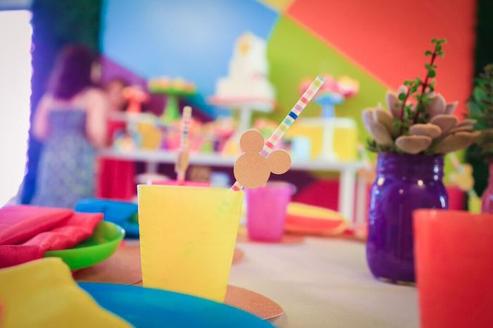 Drink Cup from a Colorful Geometric Mickey Mouse Birthday Party via Kara's Party Ideas KarasPartyIdeas.com (8)