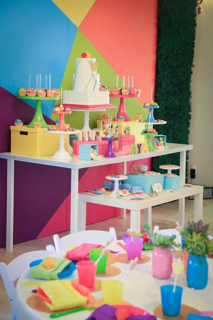 Sweet Table from a Colorful Geometric Mickey Mouse Birthday Party via Kara's Party Ideas KarasPartyIdeas.com (7)