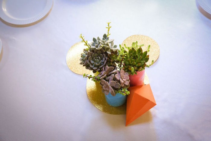 Succulent Arrangements from a Colorful Geometric Mickey Mouse Birthday Party via Kara's Party Ideas KarasPartyIdeas.com (6)