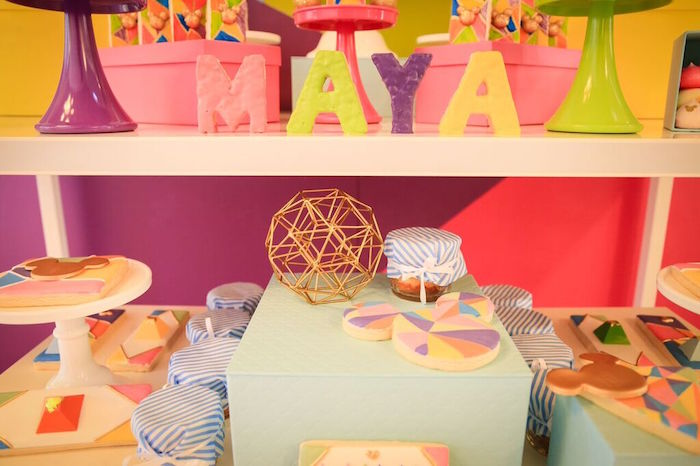 Sweet Table Details from a Colorful Geometric Mickey Mouse Birthday Party via Kara's Party Ideas KarasPartyIdeas.com (4)