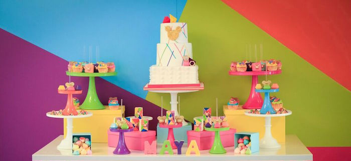 Sweet Table Details from a Colorful Geometric Mickey Mouse Birthday Party via Kara's Party Ideas KarasPartyIdeas.com (1)