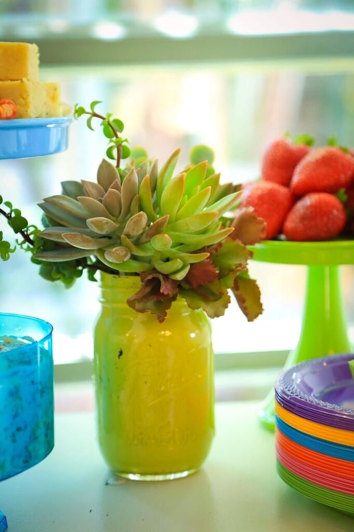 Succulent Arrangement from a Colorful Geometric Mickey Mouse Birthday Party via Kara's Party Ideas KarasPartyIdeas.com (43)
