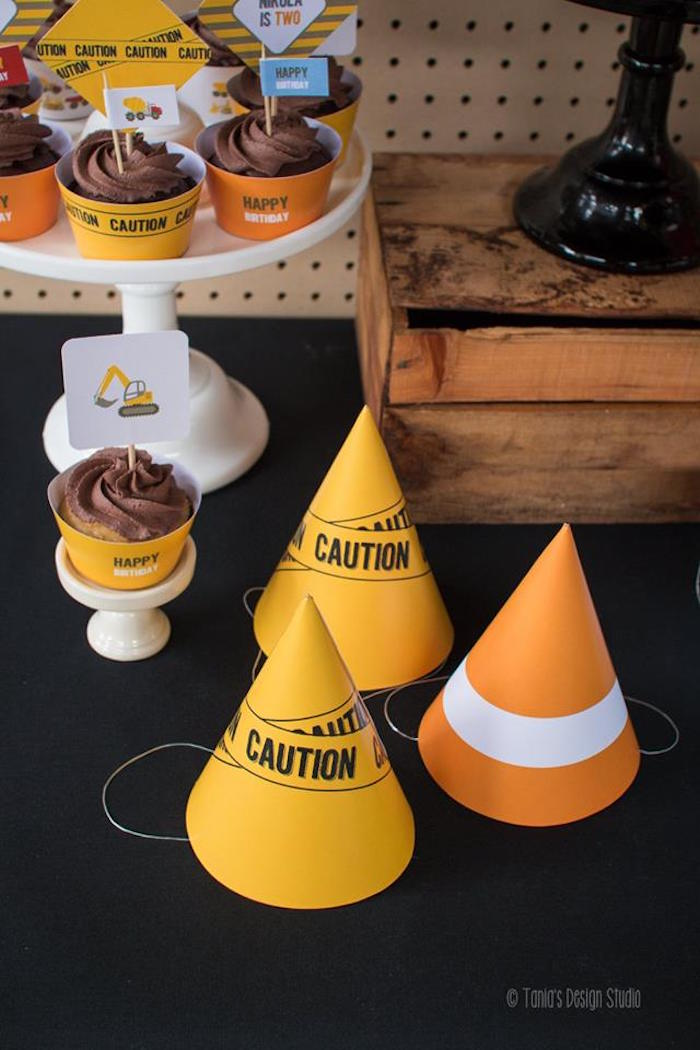 Party Hats from a Construction Birthday Party via Kara's Party Ideas! KarasPartyIdeas.com (31)