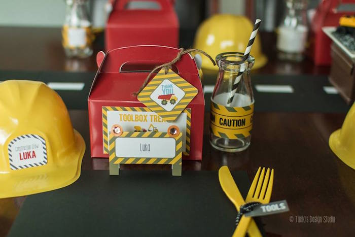 Place Setting from a Construction Birthday Party via Kara's Party Ideas! KarasPartyIdeas.com (26)