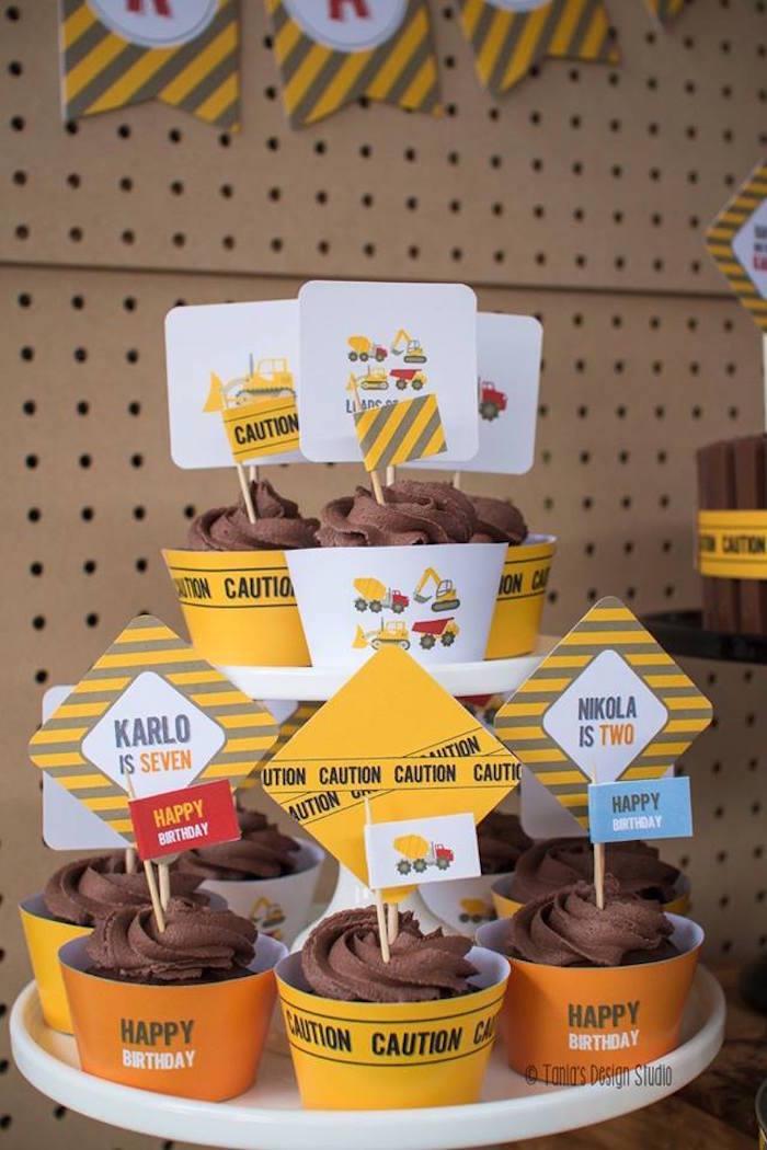 Cupcakes from a Construction Birthday Party via Kara's Party Ideas! KarasPartyIdeas.com (23)