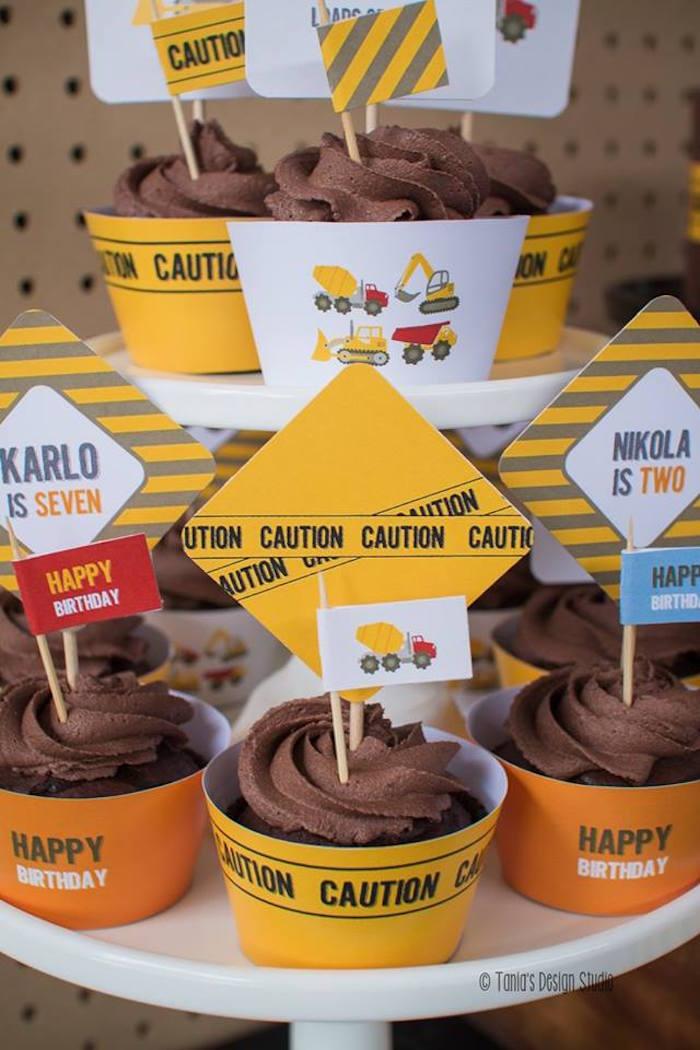 Cupcakes from a Construction Birthday Party via Kara's Party Ideas! KarasPartyIdeas.com (17)