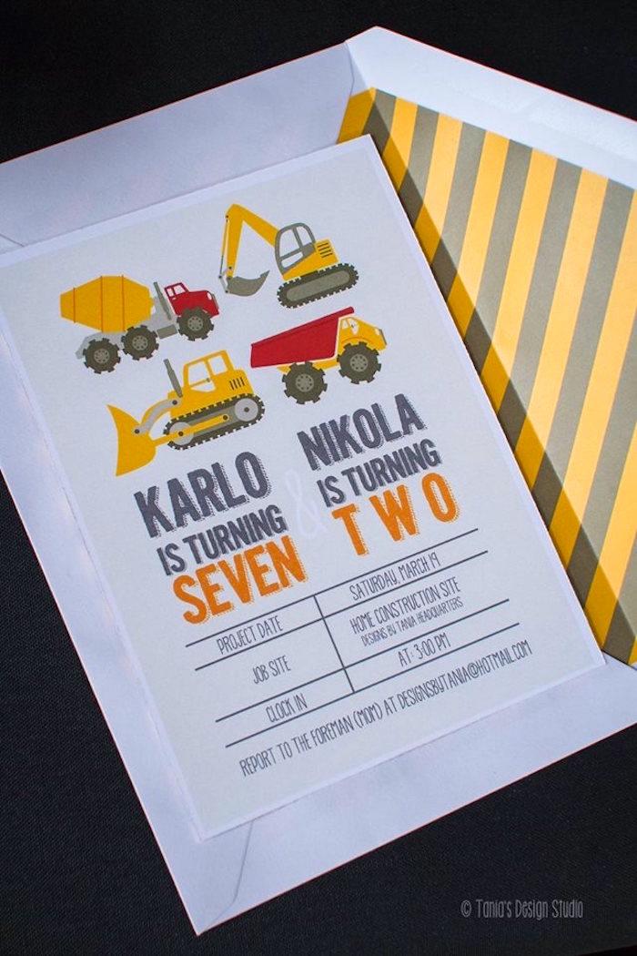Invitation from a Construction Birthday Party via Kara's Party Ideas! KarasPartyIdeas.com (10)