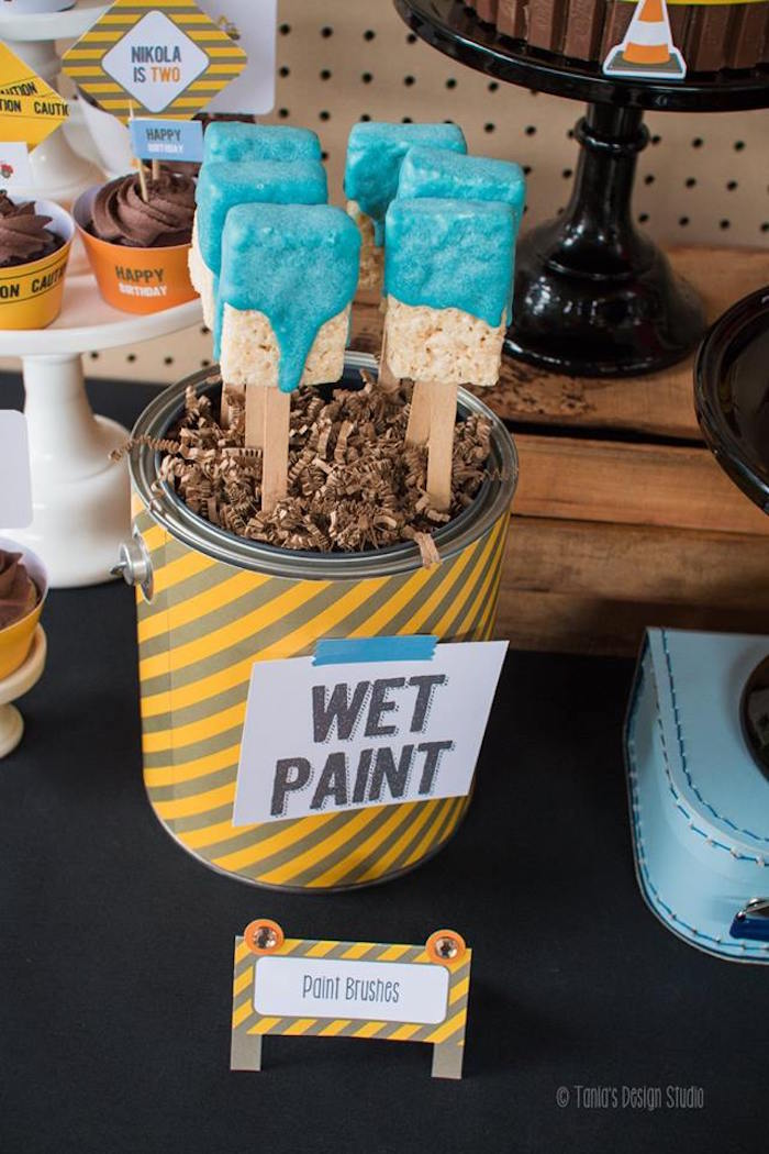 Rice Krispie Treat Paint Brushes from a Construction Birthday Party via Kara's Party Ideas! KarasPartyIdeas.com (38)