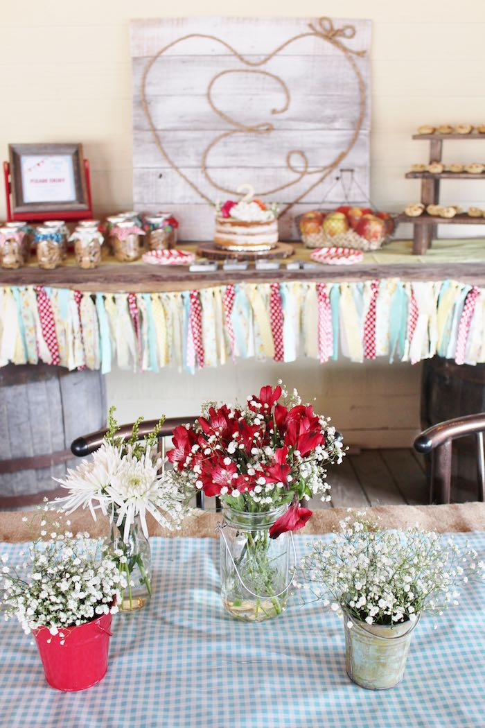 Floral Arrangements + Sweet Table from a County Fair Themed Birthday Party via Kara's Party Ideas | The Place for All Things Party! KarasPartyIdeas.com (22)