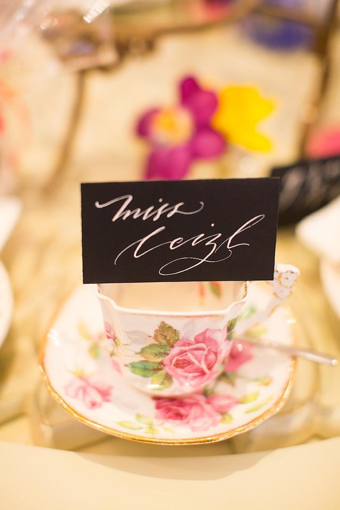 Handmade, Calligraphy, Name Card from an Elegant Chanel Inspired Birthday Party via Kara's Party Ideas KarasPartyIdeas.com (26)