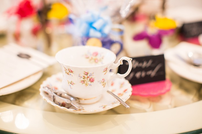Tea Cup + Saucer from an Elegant Chanel Inspired Birthday Party via Kara's Party Ideas KarasPartyIdeas.com (23)