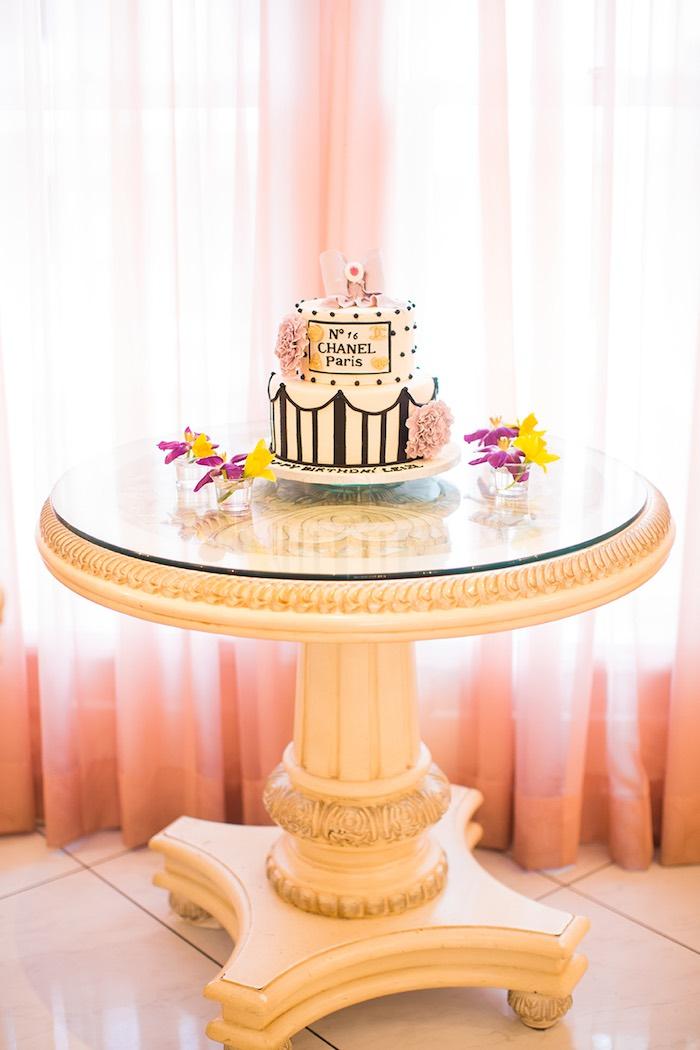 Cake Table from an Elegant Chanel Inspired Birthday Party via Kara's Party Ideas KarasPartyIdeas.com (22)