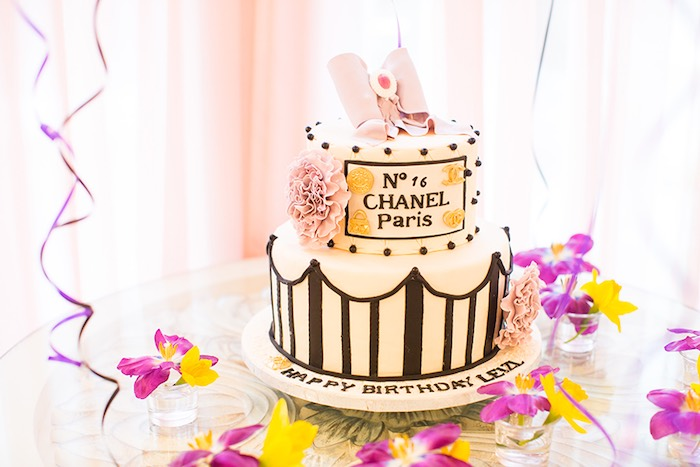 Cake from an Elegant Chanel Inspired Birthday Party via Kara's Party Ideas KarasPartyIdeas.com (16)