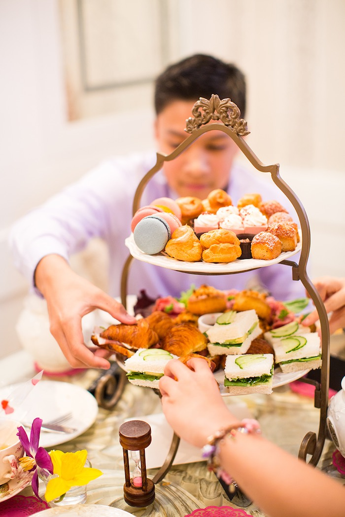Party Guests selecting food + sweet items from an Elegant Chanel Inspired Birthday Party via Kara's Party Ideas KarasPartyIdeas.com (7)