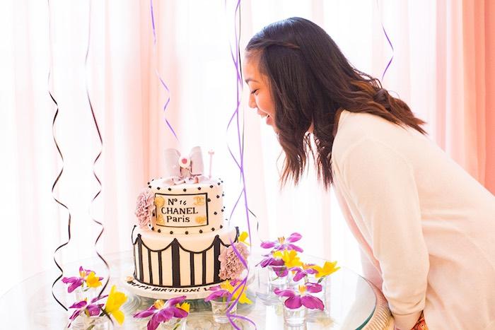 Birthday Girl from an Elegant Chanel Inspired Birthday Party via Kara's Party Ideas KarasPartyIdeas.com (4)