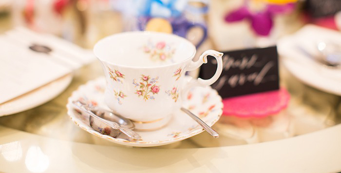 Tea Cup + Saucer from an Elegant Chanel Inspired Birthday Party via Kara's Party Ideas KarasPartyIdeas.com (2)