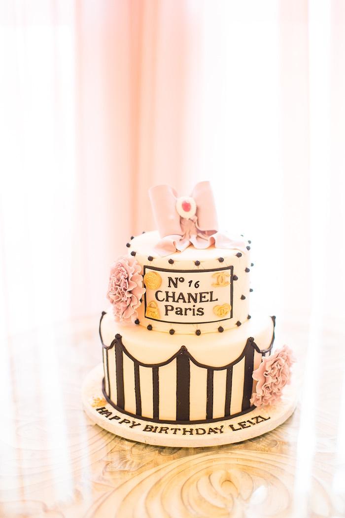 Cake from an Elegant Chanel Inspired Birthday Party via Kara's Party Ideas KarasPartyIdeas.com (28)