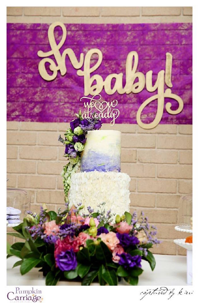 Cake Display from an Elegant Floral Baby Shower via Kara's Party Ideas KarasPartyIdeas.com (18)