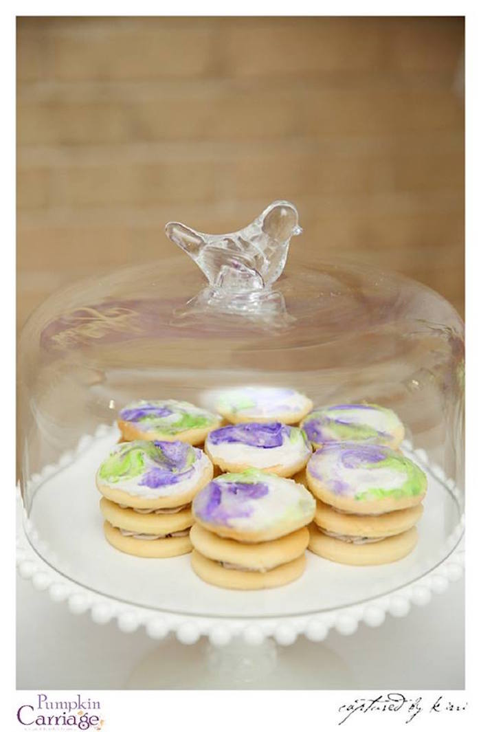 Cookies stacked with blueberry buttercream from an Elegant Floral Baby Shower via Kara's Party Ideas KarasPartyIdeas.com (16)