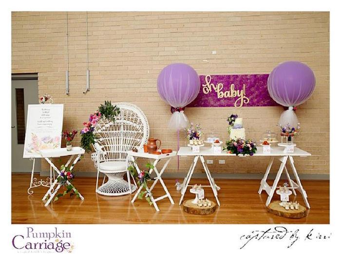 Party Setup from an Elegant Floral Baby Shower via Kara's Party Ideas KarasPartyIdeas.com (13)