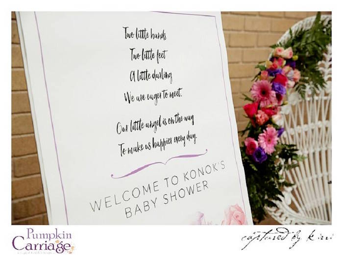 Stationery + Sign from an Elegant Floral Baby Shower via Kara's Party Ideas KarasPartyIdeas.com (12)