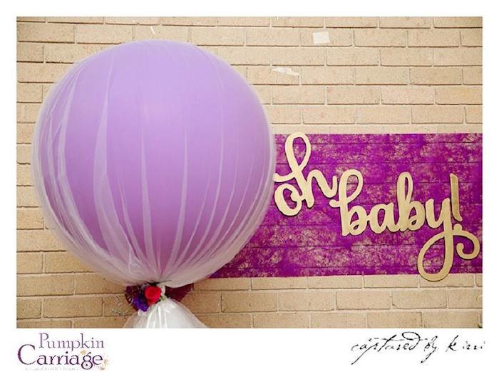 Giant Balloon + Backdrop from an Elegant Floral Baby Shower via Kara's Party Ideas KarasPartyIdeas.com (37)