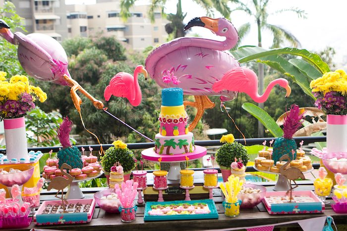 Karas Party Ideas Dessert Table from a Flamingo Garden Party via