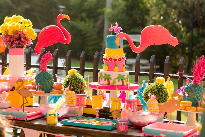 Dessert Table Details from a Flamingo Garden Party via Kara's Party Ideas - KarasPartyIdeas.com (21)