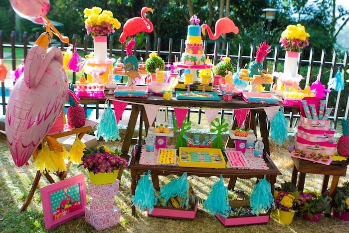 Dessert Table from a Flamingo Garden Party via Kara's Party Ideas - KarasPartyIdeas.com (20)