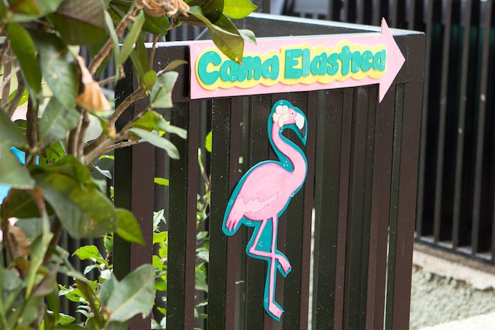 Sign from a Flamingo Garden Party via Kara's Party Ideas - KarasPartyIdeas.com (14)