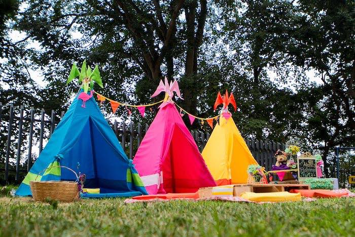 Teepees from a Flamingo Garden Party via Kara's Party Ideas - KarasPartyIdeas.com (11)